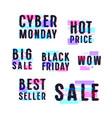 set sale discount badges labels emblems vector image vector image