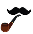 Smoking pipe and mustache vector image