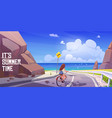 summer landscape with girl on bike and sea vector image vector image