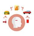 unhealthy habits and food vector image