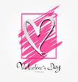valentines day lettering on pink frame vector image