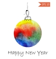 Watercolor christmas bauble Colorful on white vector image vector image