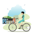 Women riding a bicycle vector image vector image
