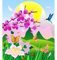 flowering cherry vector image