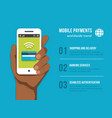 Mobile Payments Phone in black man hand vector image