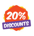 20 off discount promotion sale sale promo market vector image vector image