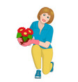 a girl holding a pot of flowers vector image vector image