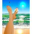 a Womans Legs Relaxing at the Beach vector image