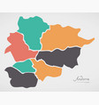 andorra map with states and modern round shapes vector image vector image