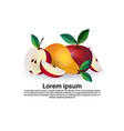 apple and pear on white background healthy vector image vector image