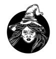 beautiful witch come out from black hole vector image