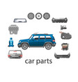 car spares and parts top view vector image vector image