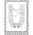 cartoon letter u drawn in the shape of house vector image vector image