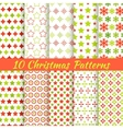 Christmas different seamless patterns tiling vector image vector image