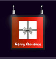 christmas frame with red background ang giftbox vector image vector image
