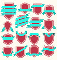 collection of flat style shields and ribbons vector image