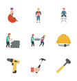 construction work flat icons vector image