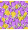 crocus seamless pattern 1 purple yellow vector image vector image