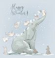cute wibter elephabt with hares vector image vector image