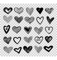 doodle hearts hand drawn love heart icons vector image