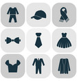 dress icons set with pajamas bow tie suit and vector image