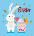 eggs paint with rabbit and flowers easter season vector image