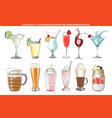 engraved style cold beverages and cocktails vector image