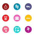 equinoctial icons set flat style vector image