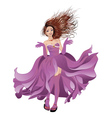 Girl in Flowing Dress vector image