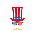 glasses mustache and hat of uncle sam american vector image
