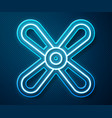 glowing neon line plane propeller icon isolated on vector image vector image