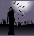 Halloween background with woman ghost vector image vector image