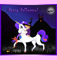 halloween greeting card of cute witch sitting on vector image vector image