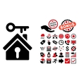 Home Key Flat Icon with Bonus vector image vector image
