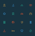 journey icons line style set with suitcase hotel vector image