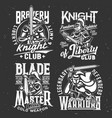 knight warrior iron sword t-shirt print sport club vector image vector image