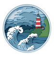 lighthouse and raging waves vector image