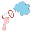 man hand holding megaphone announcement with cloud vector image vector image