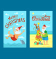 merry christmas santa claus and monkey sea swim vector image vector image