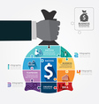 money bag jigsaw banner vector image vector image
