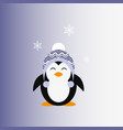 penguin in a knitted cap icon flat vector image vector image