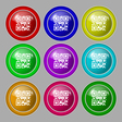 Qr code icon sign symbol on nine round colourful vector image