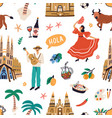 seamless pattern with famous symbols spanish vector image vector image