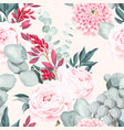 seamless pattern with pastel vintage flower vector image vector image