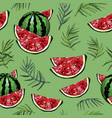 seamless pattern with watermelons and palm leafs vector image vector image