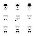 set of black hipster icons vector image vector image