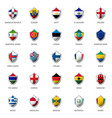 set of flags on metal shiny shield vector image vector image