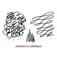 set of hand drawn ink pen swirly scribbles vector image