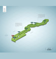 stylized map gambia isometric 3d green map vector image vector image