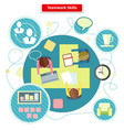 Teamwork Skills Concept Flat Design vector image vector image